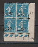France Coin Daté 1926 Semeuse 217 IIA ** MNH - Hoekdatums