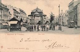 Belgique Souvenir De Verviers Place Verte Cachet Verviers 1902 Cpa Carte Animée Tram Tramway - Verviers