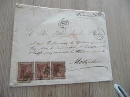 Lettre Espagne Espana Bande De 3 TP En Port DU Pour Montpellier Cachets Ambulants ESP St Jean De Luz Amb - 1875-1882 Royaume: Alphonse XII