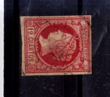 Año 1860 Edifil 53 Isabel II  Matasellos Rueda De Carreta 6 Malaga - Usati