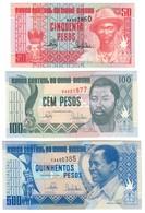 Guinea Bissau Lot Set 50 / 100 / 500 Pesos 1990 UNC .CV. - Guinea-Bissau