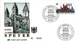 """BRD Schmuck-FDC """"2000 Jahre Speyer"""" Mi. 1444 ESSt  12.1.1990 BONN 1 - FDC: Sobres"""