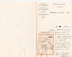 SAINT COSME EN VAIRAIS COMMUNE MAIRIE LETTRE DOUBLE ENTETE AVEC PAPILLON DE MANDAT POSTES ET TELEGRAPHES ANNEE 1903 - Non Classés