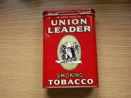 Old Tin Box Union Leader Smoking Tobacco Pipe Or Cigarette - Cajas Para Tabaco (vacios)