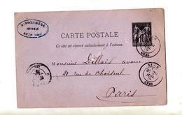 Carte Postale 10 Sage Cachet Auch + Paris - Entiers Postaux