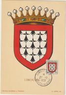 Carte-Maximum FRANCE N° Yvert 900 (LIMOUSIN) Obl Sp Limoges 27.12.51 (Ed Louis) - 1950-59