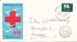 Netherlands Antilles FDC 1-12-1958 RED CROSS With Cachet - Curaçao, Antilles Neérlandaises, Aruba