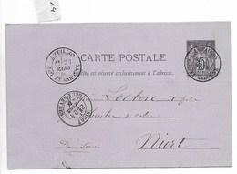 Carte Lettre, Aiguillon (Lot Et Garonne) Vers Niort 1880 - Postmark Collection (Covers)