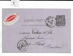 Carte Lettre, Saintes (Charente-Maritime) Vers Niort 1879 (pastille épicerie Mercerie Chauvin) - Marcophilie (Lettres)