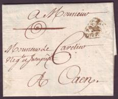 SEINE INFERIEURE - LAC - PORT PAYE DU HAVRE (port Payé Orné) L13 (1779) Pour Caen (13), Au Verso Taxe 7 - Marcophilie (Lettres)