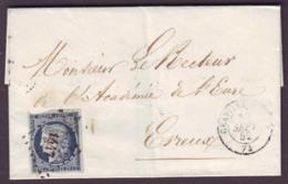 SEINE INFERIEURE - LAC - Tàd T15 GRAVILLE EURE (1852) + PC 1417 Sur N° 4 (25c Bleu Cérès) -> Evreux (26) - Marcophilie (Lettres)