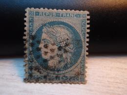 TIMBRE N° 37  CERES 20c BLEU SIEGE DE PARIS 1870 Oblitéré. - 1870 Siège De Paris