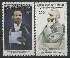 DJIBOUTI POSTE AERIENNE N°186 à 187 NEUFS ** MNH Série De 2 Valeurs. CELEBRITES : Martin Luther KING Et Alfred NOBEL. TB - Martin Luther King