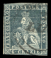 1851-52  6 CRAZIE ARDESIA SU GRIGIO N.7 - FINE USED - Toscana