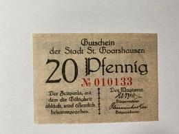 Allemagne Notgeld St Goarshausen 20 Pfennig - [ 3] 1918-1933 : République De Weimar