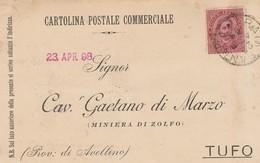 Prata Sannita. 1898. Annullo Grande Cerchio PRATA SANNITA, Su Cartolina Postale - 1878-00 Umberto I