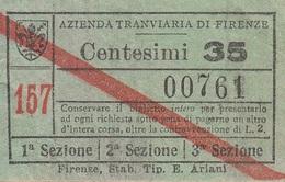 ** BIGLIETTO.- AZIENDA TRANVIARIA DI FIRENZE.-** - Tramways