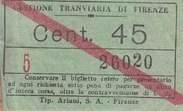 ** BIGLIETTO.- GESTIONE TRANVIARIA DI FIRENZE.-** - Tramways
