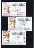 DDR, 1987, 3 Luftpost-Karten, Leipziger Messe, Peking/Amsterdam/Wien - Lettres