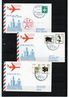 DDR, 1986, 3 Luftpost-Karten, Leipziger Messe, Paris/Wien/Athen - Lettres
