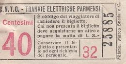 ** BIGLIETTO.- TRANVIE ELETTRICHE PARMENSI.-** - Tramways