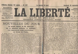 La Liberté - Fribourg - Suisse - 29.09.1944 -Churchill - Questions Fiscales Belgique Libre ! Affaires Suisses - Autres