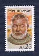 USA,1989. Literary Arts History. Famous Writer: E. Hemingway.Cat. YT 1867 Full Issue. NewNH - Neufs