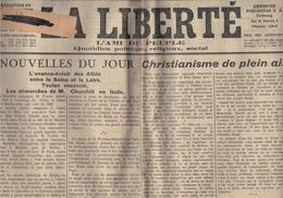 La Liberté - Fribourg - Suisse - 19.08.1944 - Christianisme -Churchill - Toulon - Alliés Aux Portes De Paris - Bataille - Autres