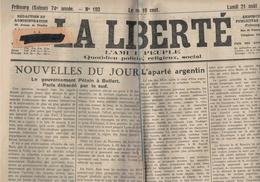 La Liberté - Fribourg - Suisse - 21.09.1944 - Argentine -Pétain à Belfort - La Campagne De France - Autres