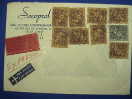 PORTUGAL 1963 Lettre Cover Enveloppe Expresso Expres Por Avio Air Mail Par Avion Orly Centre De Tri SOCOPROL - Covers & Documents
