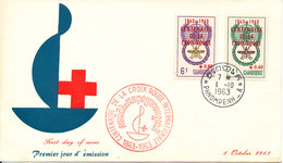 Cambodia FDC 1-10-1963 RED CROSS Overprinted Stamps (United World Against Malaria) With Cachet - Cambodge