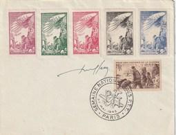 France. Enveloppe. Cachet Semaine Nationale Des P.T.T. 1945. 1 Timbre + 5 Vignettes Pour Nos Victimes De La Guerre. - Militaria
