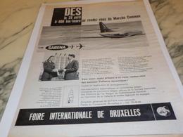 ANCIENNE PUBLICITE MARCHE COMMUN SABENA  1961 - Publicités