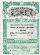 Titre Ancien - Société D'Electricité SODEC - Société Anonyme - Titre De 1948 - Electricité & Gaz