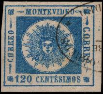 Uruguay 1859 120c Blue Thin Figures Of Value Fine 4 Margined Fine Used. - Uruguay