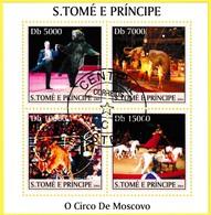 Bloc Feuillet Oblitéré De 4 Timbres-poste - Cirque De Moscou O Circo De Moscovo - Sao Tome Et Principe 2004 - Sao Tome And Principe