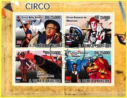 Bloc Feuillet Oblitéré De 4 Timbres-poste - Cirque Circo Billy Smart Circo Herman Renz - Sao Tome Et Principe 2008 - Sao Tome And Principe