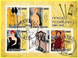 Bloc Feuillet Oblitéré De 4 Timbres-poste - Amedeo Modigliani - Sao Tome Et Principe 2009 - Sao Tomé Y Príncipe