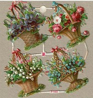 A & M N° 6431 - SCRAP -  DECOUPIS  - Gaufré / Embossed - Flower Baskets - 2 Scans - Flowers