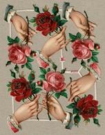 Albrecht & Meister - A & M N° 7103 - SCRAP -  DECOUPIS  - Gaufré / Embossed - Roses * Hands / Mains - 2 Scans - Flowers