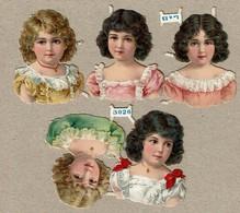 Littauer & Boysen L & B N° 3026 - SCRAP -  DECOUPIS  - Gaufré / Embossed - Girl's Heads / Têtes De Fillettes - 2 Scans - Victorian Die-cuts