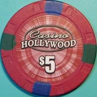 $5 Casino Chip. Casino Hollywood, Prince George, British Columbia, CANADA. - Casino