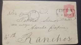 O) 1885 ARGENTINA. AMBULANTE, RIVADAVIA 8c POSTAL STATIONERY, PUBLICADA CANCELLATION, RANCHOS, XF - Nuovi