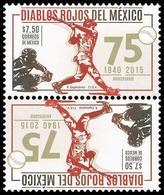 2015  Béisbol DIABLOS ROJOS DEL MÉXICO, Baseball And Philately Tête-bêche MNH Scott 2954a. - Mexico