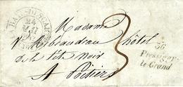 1842- Lettre De PRESSIGNY-LE-GRAND ( Indre Et Loire ) Cursive 23 Mm + Cad T13 De La Haye-Descartes - Marcophilie (Lettres)