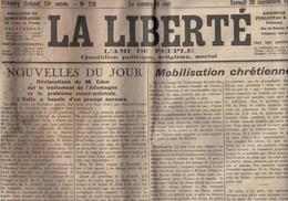 La Liberté - Fribourg - Suisse - 30.09.1944 -Mobilisation Chrétienne - Eden - Russie - Pologne - Appel à La Croix-Rouge - Autres