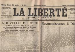 La Liberté - Fribourg - Suisse - 16.09.1944 - Reconnaissance à Dieu - Nancy Epinal Libérés - L'état Moral De La France - Autres