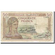 France, 50 Francs, Cérès, 1937, 1937-02-11, TB, Fayette:17.25, KM:81 - 50 F 1934-1940 ''Cérès''