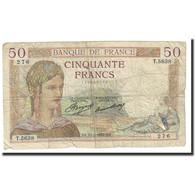 France, 50 Francs, Cérès, 1937, 1937-02-11, TB, Fayette:17.34, KM:81 - 50 F 1934-1940 ''Cérès''