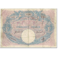 France, 50 Francs, Bleu Et Rose, 1908, 1908-04-02, B+, Fayette:14.21, KM:64e - 1871-1952 Antichi Franchi Circolanti Nel XX Secolo